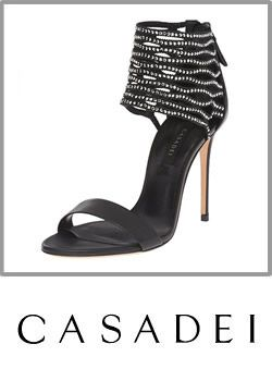 2-casadei Womens Black High Heel Crystal Studded Ankle Cuff Sandal