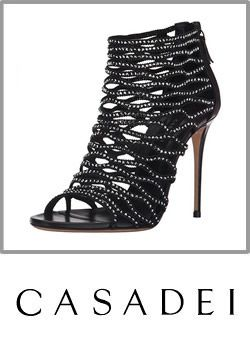3-casadei Womens Black Leather Dress Sandal Studded Ankle Cuff Sandal