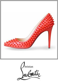 3-christian Louboutin Pigalle Spikes Papaya Leather Pumps Studded Shoes
