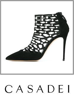 4-casadei Womens Black Suede And Crystal Cut Out High Heel Booty
