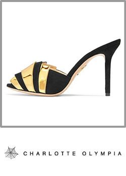 7-charlotte Olympia Womens Black And Gold Suede High Heel Mules Booty