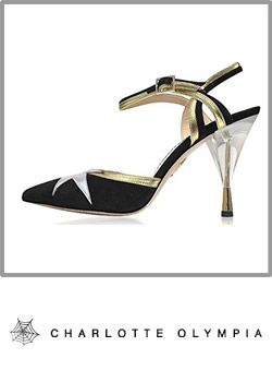 8-charlotte Olympia Womens Black And Silver Crystal High Heels Mules Booty