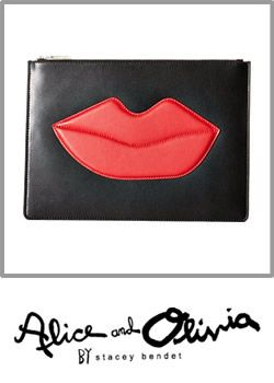 Alice Olivia Womens Large Zip Pouch With Red Lips
