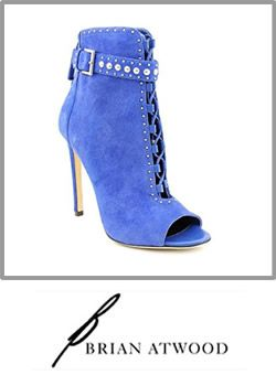 Brian Atwood Lamotte Womens Blue Suede High Heel Boot