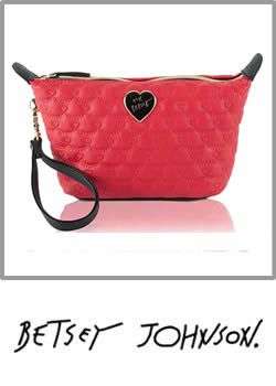 Betsey Johnson Be Mine Trapezoid Wristlet Red Cometic Pouch