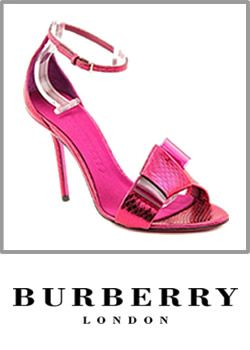 Burberry Womens Open Toe Leather Sandals Brigth Pink