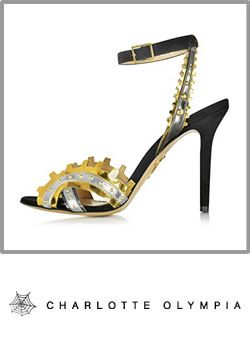 Charlotte Olympia Womens Black Gold Leather Sandals