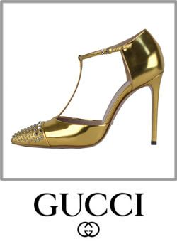 Gucci Coline Gold Studded Leather T Strap Pumps Jeweled Heels