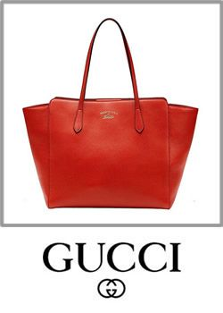 Gucci Swing Orange Red Leather Shoulder Tote Handbag Pouch