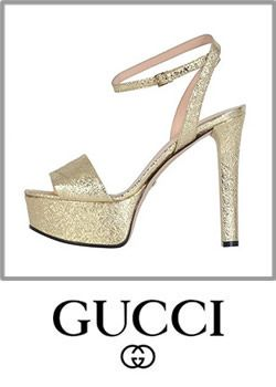 Gucci Womens Gold Leather Platform Sandals Leather Slingback High Heels