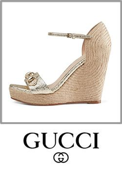 Gucci Womens Lane Wedge Shoes Sandals Leather Slingback High Heels