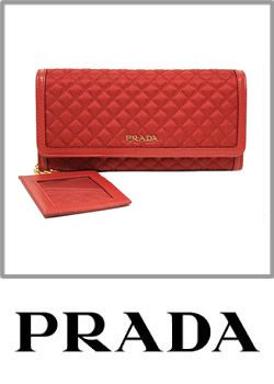 Prada Tessuto Quilted Continental Flap Waller Ross Red Pouch