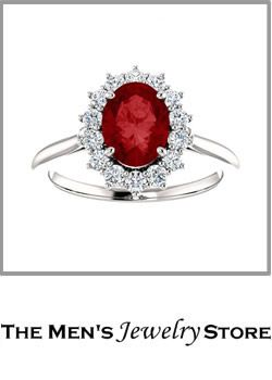 Ruby Diamond Halo 14k White Gold Ring From The Mens Jewelry Store For Her Her