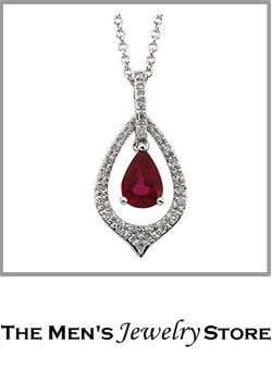 Ruby And Diamond 14k White Gold Necklace Earrings
