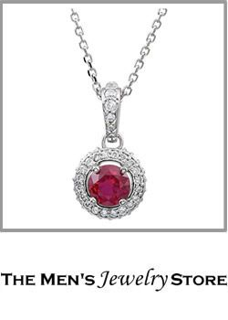 Ruby Diamond Halo Entourage 14k White Gold Necklace From The Mens Jewelry Store For Her