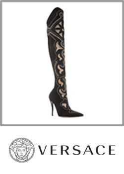 Versace Suede Embroidered High Heel Knee Boots