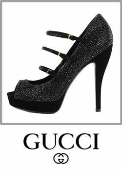 Gucci Black Suede Crystal Mary Jane Platform Shoes Heel