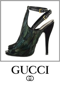 f50f4b315cb Gucci Feather Leather Open Toe Jane High Heels Pump Shoes Boot