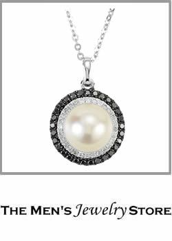 Mabe Freshwater Cultured Pearl Black Diamond White Diamond Halo Round Necklace Gold Gold Necklace